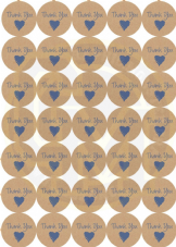 Matt Paper Thank You Stickers -  Wedding -Crafting- Packaging 37mm